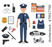 police officer with police... | Shutterstock .eps vector #670017700
