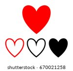 heart icons vector  love symbol ... | Shutterstock .eps vector #670021258