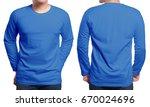 Blue Long Sleeved T Shirt Mock...