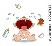 little baby boy sits and cries. ... | Shutterstock .eps vector #670027699