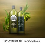 olive oil ad template. 3d... | Shutterstock .eps vector #670028113