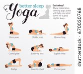 yoga poses for better sleep.... | Shutterstock .eps vector #670030768