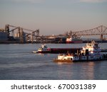 Port Allen, Louisiana, USA - 2019: Port of Greater Baton Rouge, with barges in the foreground.