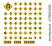 traffic sign yellow vector... | Shutterstock .eps vector #670031500