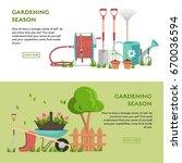 gardening concept poster. flat... | Shutterstock .eps vector #670036594