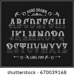 hand drawn label font for... | Shutterstock .eps vector #670039168