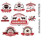 vector set of barbecue logo... | Shutterstock .eps vector #670039828