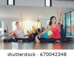 group of yoga exercise and... | Shutterstock . vector #670042348