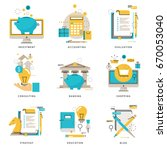 infographics icons collection... | Shutterstock .eps vector #670053040