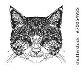 cat's head. stylized vector... | Shutterstock .eps vector #670054933
