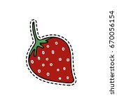 isolated strawberry in patch... | Shutterstock .eps vector #670056154
