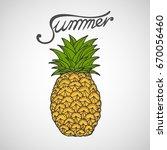 pineapple vector illustration | Shutterstock .eps vector #670056460