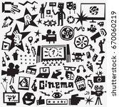 cinema icons set   design... | Shutterstock .eps vector #670060219