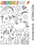 unicorn coloring book template | Shutterstock .eps vector #670061206
