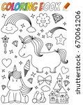 unicorn coloring book template | Shutterstock .eps vector #670061206