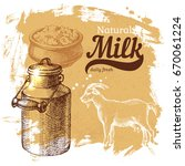 hand drawn sketch milk products ... | Shutterstock .eps vector #670061224