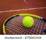tennis racket with a tennis... | Shutterstock . vector #670061434
