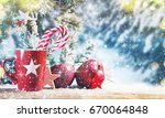 red cup  christmas holiday... | Shutterstock . vector #670064848