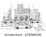 hand drawn city street  skyline ... | Shutterstock .eps vector #670068100