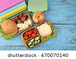 School Lunch In Boxes On Blue...