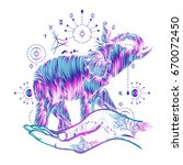 elephant in hands tattoo art.... | Shutterstock .eps vector #670072450