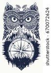 owl and compass tattoo art. owl ... | Shutterstock .eps vector #670072624
