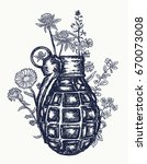 grenade tattoo and t shirt... | Shutterstock .eps vector #670073008