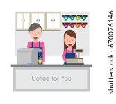 coffee shop  vector illustration   Shutterstock .eps vector #670076146