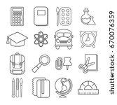 school education icons set.... | Shutterstock . vector #670076359