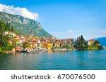 panorama of lake como in... | Shutterstock . vector #670076500
