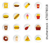 fast food cons set in flat... | Shutterstock . vector #670078018
