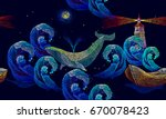 embroidery whales  lighthouse ... | Shutterstock .eps vector #670078423