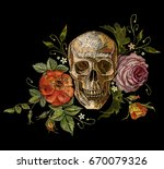 embroidery skull and roses. dia ... | Shutterstock .eps vector #670079326