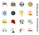 racing speed set icons in flat... | Shutterstock . vector #670079818