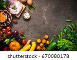 balanced food background.... | Shutterstock . vector #670080178