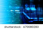 future technology  blue cyber... | Shutterstock .eps vector #670080283