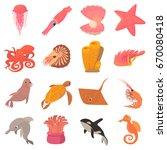ocean animals fauna icons set.... | Shutterstock . vector #670080418