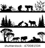 wild animals monkeys  foxes ... | Shutterstock .eps vector #670081534