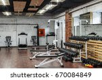 interior view of a gym with... | Shutterstock . vector #670084849