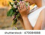 summer wedding bouquet made of...   Shutterstock . vector #670084888