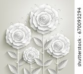 White Paper Roses With Leaves...