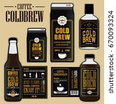 collection of coffee cold brew...   Shutterstock .eps vector #670093324