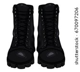 vector cartoon black army boots.... | Shutterstock .eps vector #670097206
