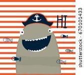 Funny Shark Cartoon On Striped...