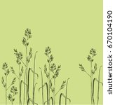 spikelets of flowering grass | Shutterstock .eps vector #670104190