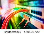 ethernet cable on network... | Shutterstock . vector #670108720