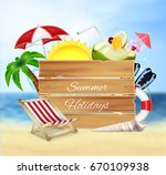 summer background. wood banner... | Shutterstock .eps vector #670109938