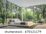 Stock photo modern living room with garden view d rendering image there are large window overlooking the 670121179