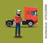 driver with his lorry. cool... | Shutterstock .eps vector #670123000
