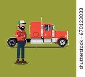 trucker with his semi truck.... | Shutterstock .eps vector #670123033